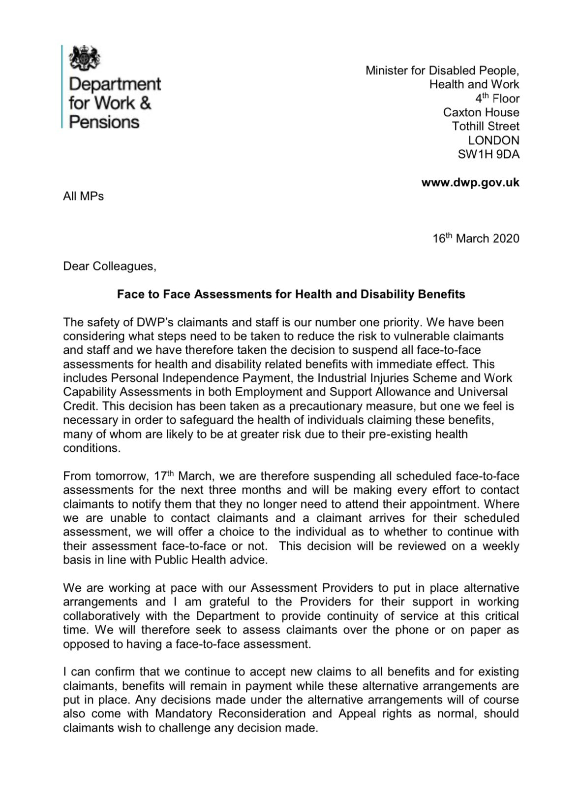 Letter from Minister for Disabled People