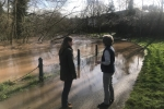 Theo Clarke MP visiting flooding at the River Sow in Stafford.